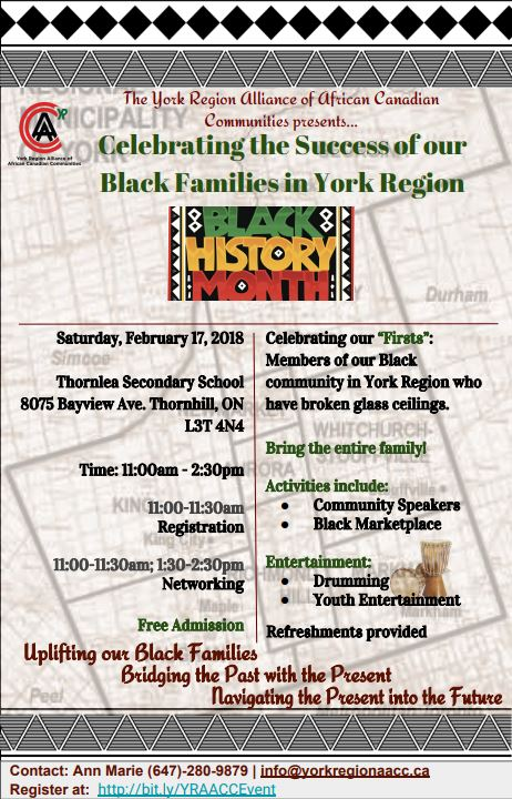 The York Region Alliance of African Canadian Communities presents…